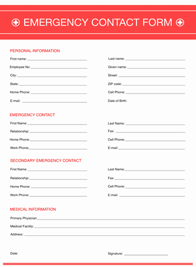 Emergency Contact form Template Free Awesome Emergency Contact form