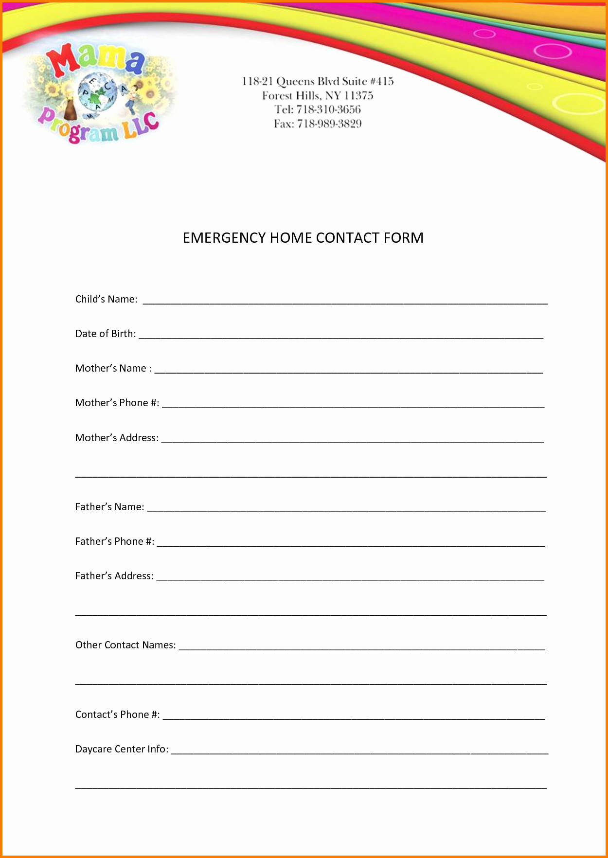 Emergency Contact form Template Free Awesome Emergency Contact Template