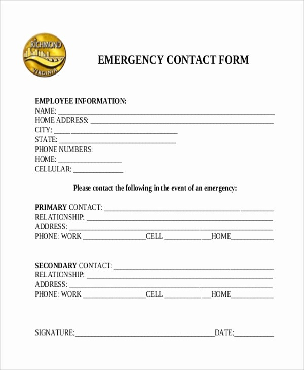 Emergency Contact form Template Free Awesome Sample Emergency Contact form 11 Free Documents In Word