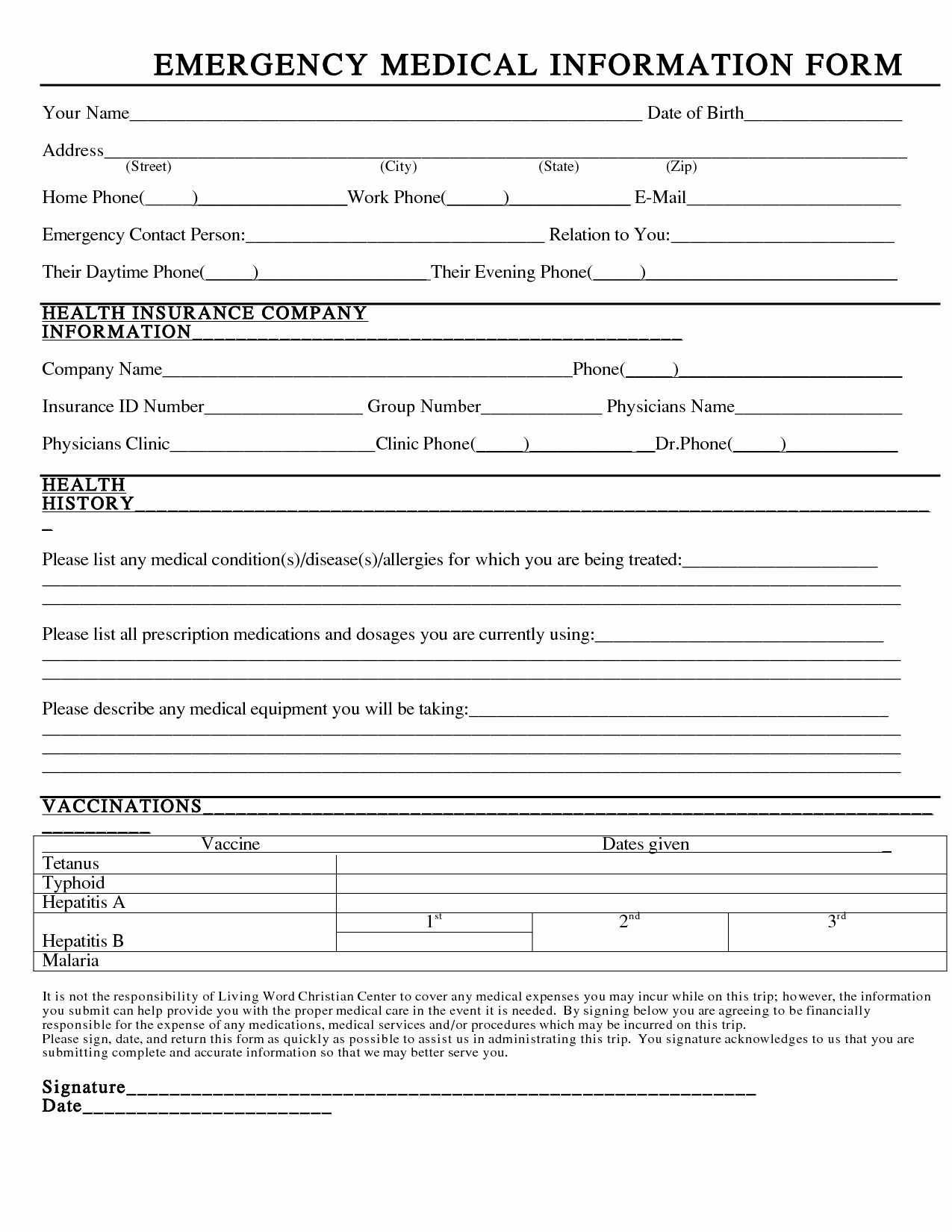 post printable emergency information form