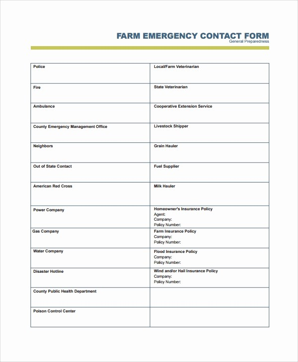 Emergency Contact form Template Free Best Of 8 Emergency Contact form Samples Examples Templates