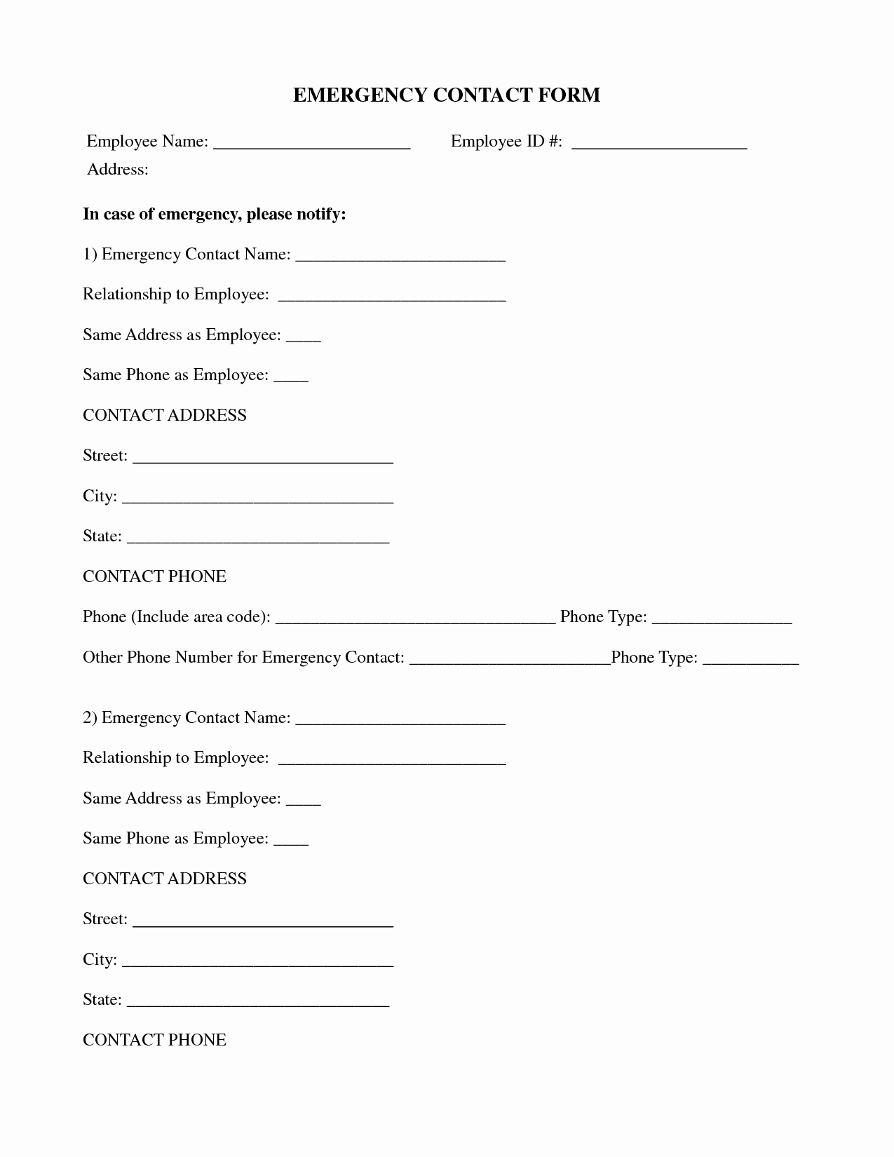 Emergency Contact form Template Free Elegant 11 Best Of Emergency Contact form for Businesses