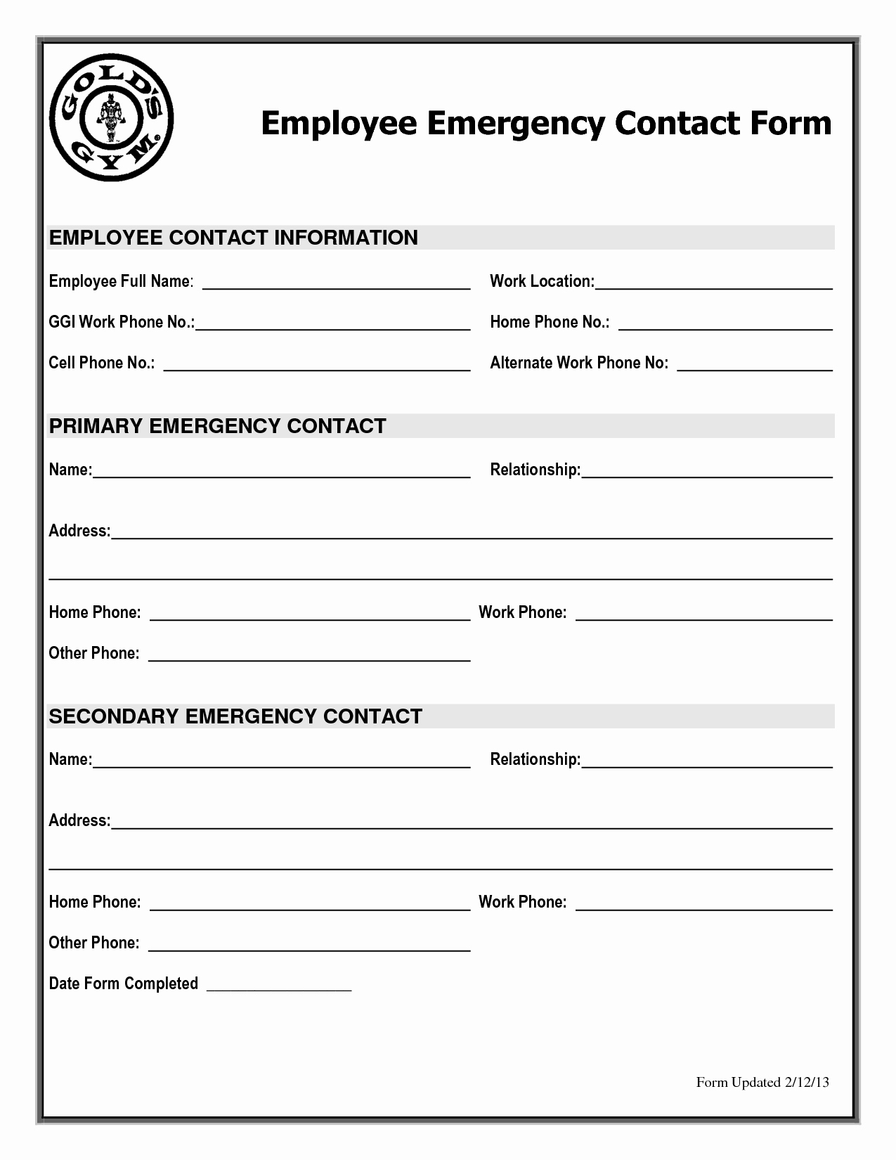 Emergency Contact form Template Free Elegant Emergency Contact form Template Free Template
