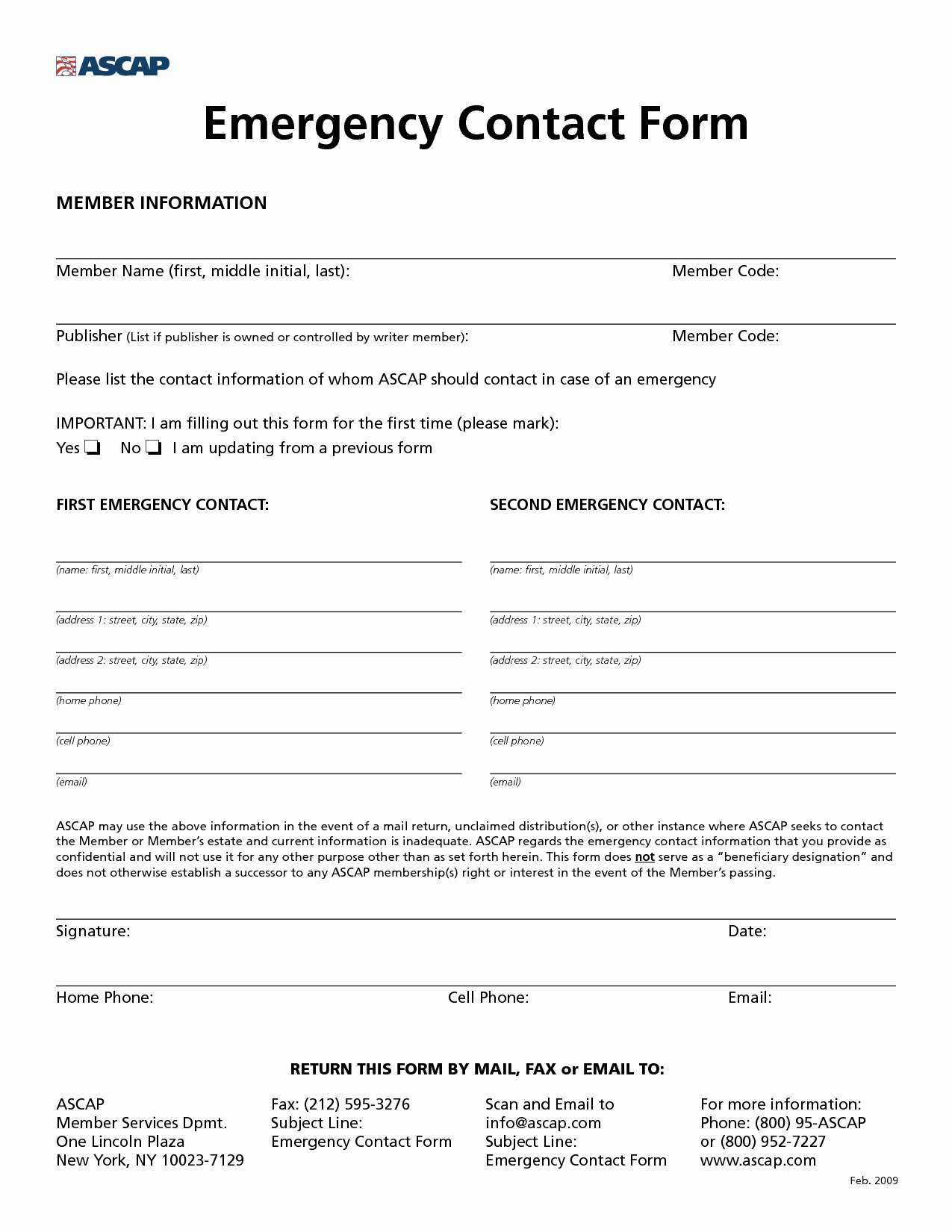 Emergency Contact form Template Free Fresh 8 Best Of Free Printable Emergency Contact form