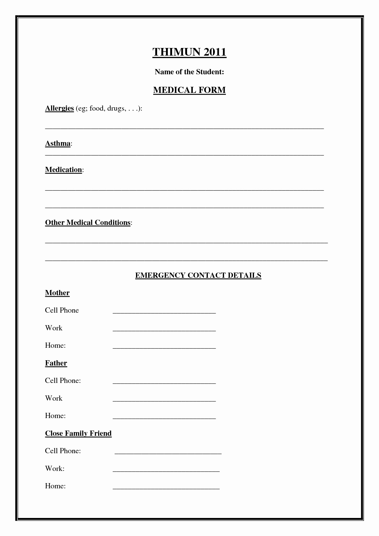 Emergency Contact form Template Free Fresh Emergency Medical form Template – Medical form Templates