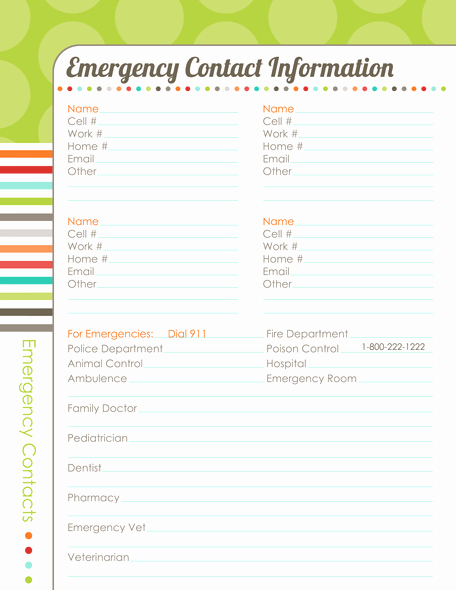 Emergency Contact form Template Free Lovely organizing Planner the Harmonized House Project