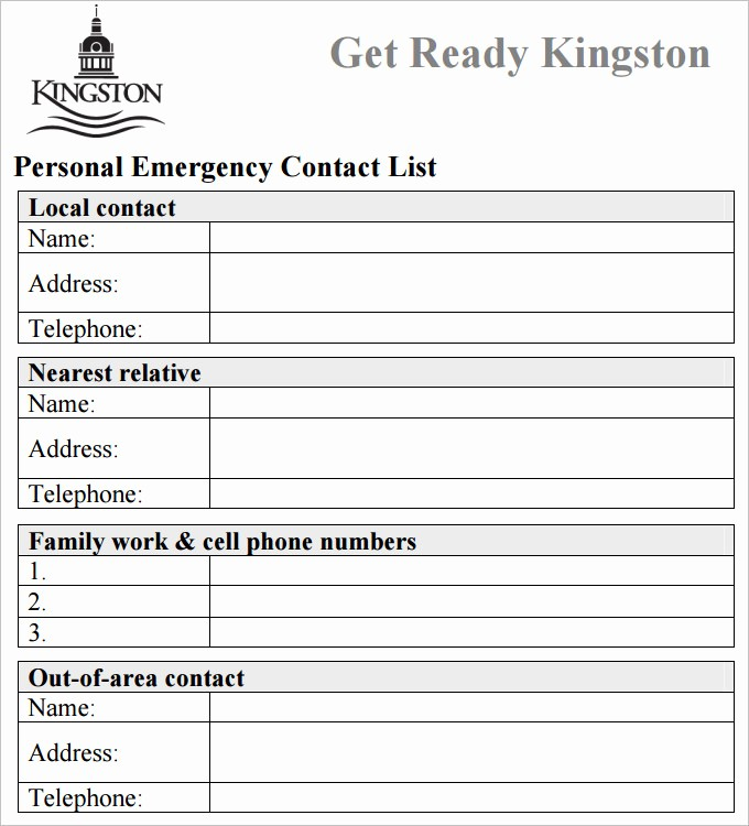 Emergency Contact form Template Free Luxury Contact List Template 4 Free Word Pdf Documents