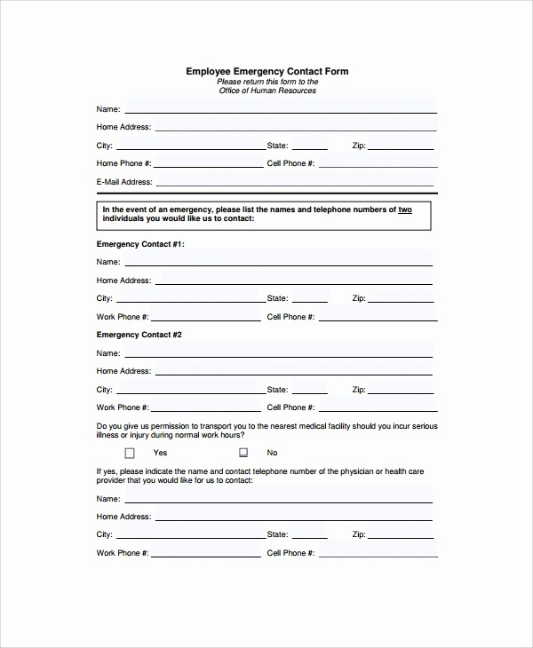 Emergency Contact form Template Free Luxury Employee Emergency Contact Printable form to Pin