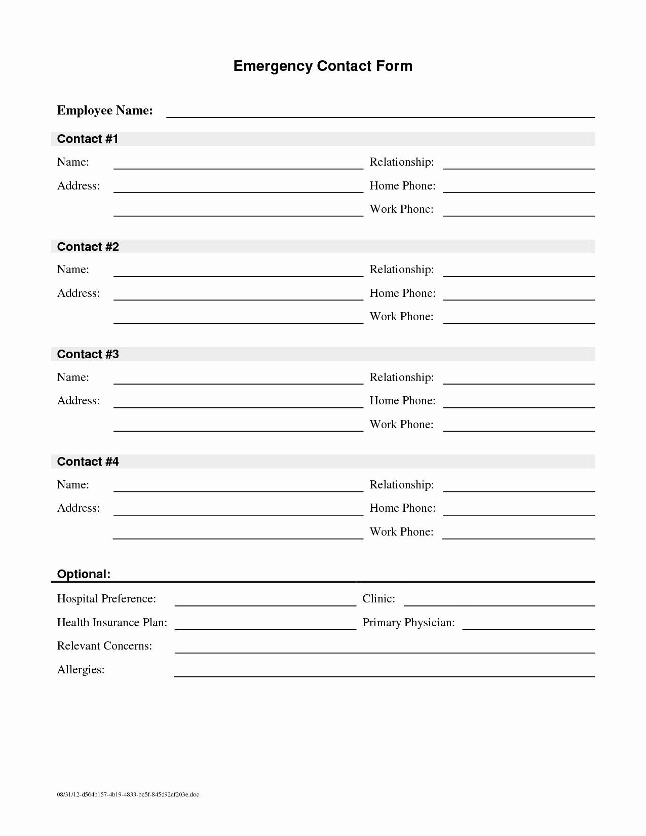 Emergency Contact form Template Free New Employee Emergency Contact Printable form to Pin