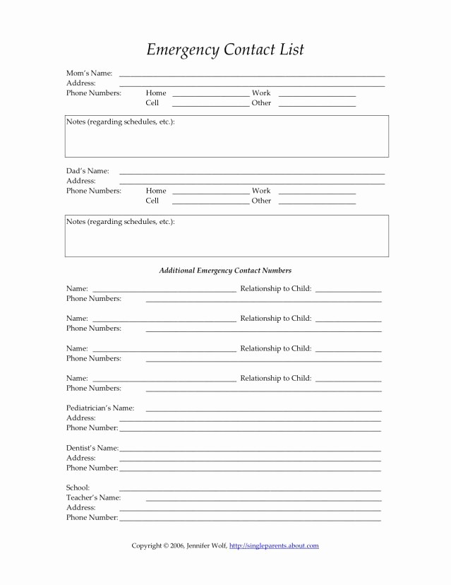 Emergency Contact forms for Children Awesome Best 25 Daycare forms Ideas On Pinterest