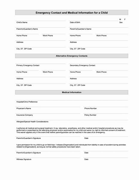 Emergency Contact forms for Children Awesome Medical Information form – Medical form Templates