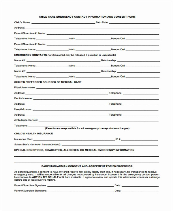 Emergency Contact forms for Children Beautiful 32 Emergency Contact form Example