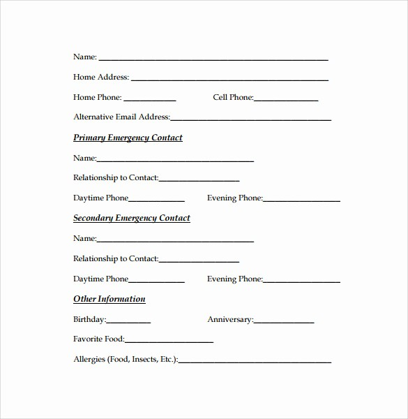 Emergency Contact forms for Children Elegant Employee Emergency Contact Printable form to Pin