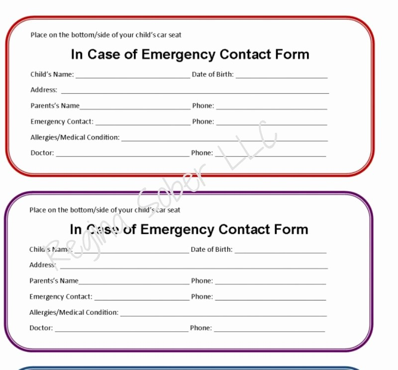 Emergency Contact forms for Children Elegant Printable Emergency Contact form for Car Seat Eat Travel