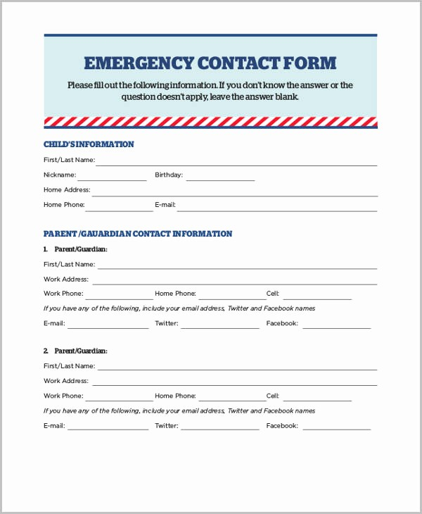 Emergency Contact forms for Children Elegant Sample Emergency Release form