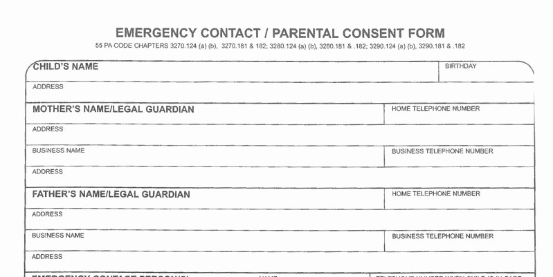 Emergency Contact forms for Children Inspirational Enrollment