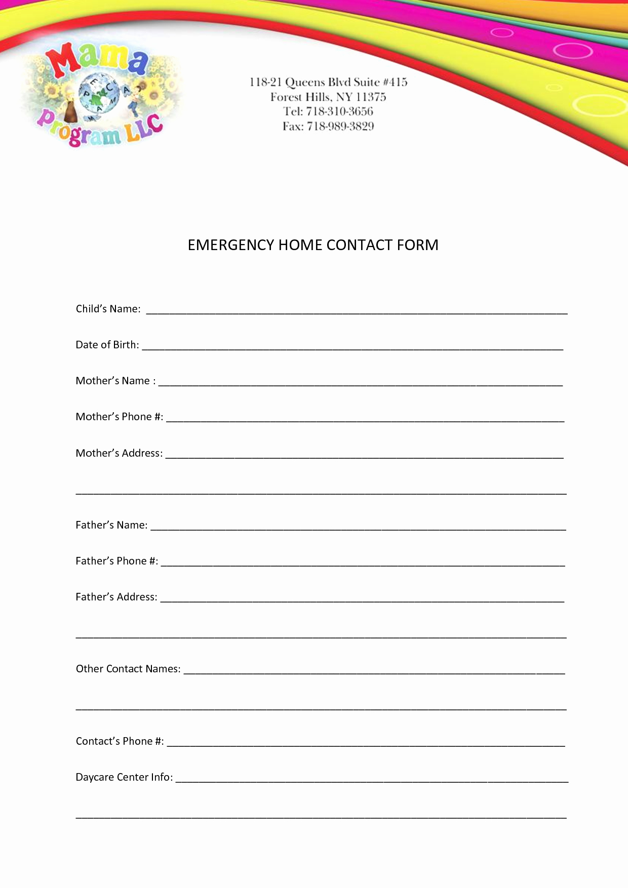 Emergency Contact forms for Children Lovely Best S Of Printable Personal Contact Template