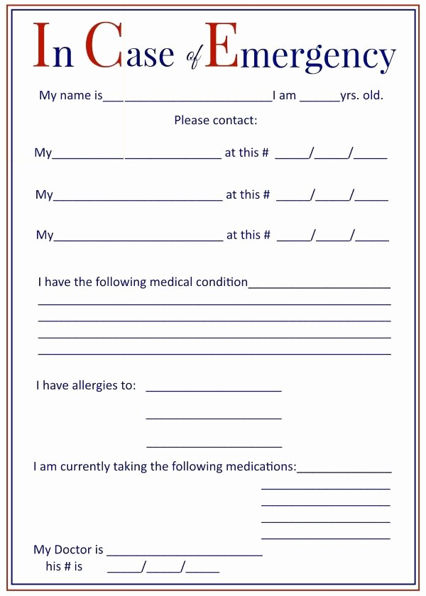 Emergency Contact forms for Children Lovely I C E In Case Of Emergency forms Keep In Your Car and