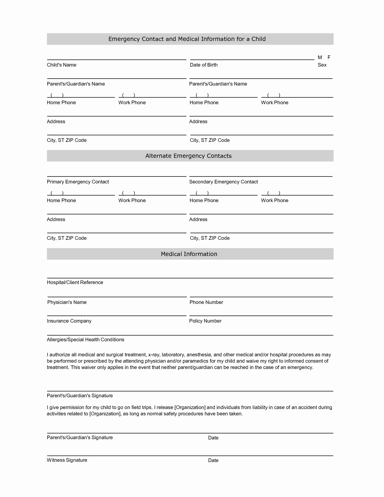 Emergency Contact forms for Children New Employee Emergency Contact Printable form to Pin
