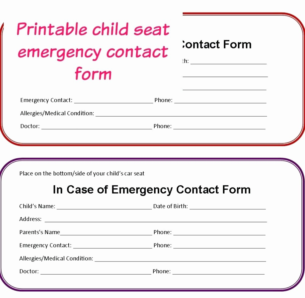 Emergency Contact forms for Children New Template Pedigree form Template Child Care Emergency