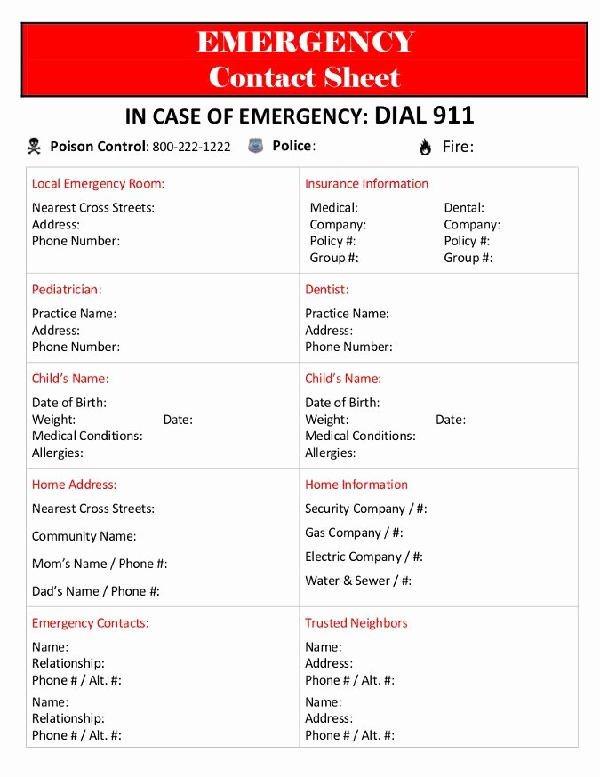 Emergency Contact List for Babysitter Awesome 7 Best Images About Emergency Contact Printables On