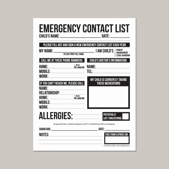 Emergency Contact List for Babysitter Awesome Emergency Contact form for Nanny Babysitter or Daycare