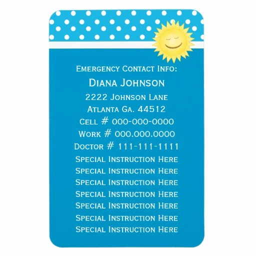 Emergency Contact List for Babysitter Awesome Emergency Contact Sun Babysitter Premium Magnet