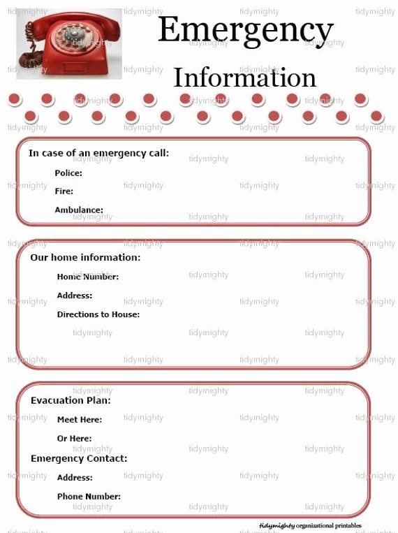 Emergency Contact List for Babysitter Awesome Emergency Information Contacts List Printable Pdf by