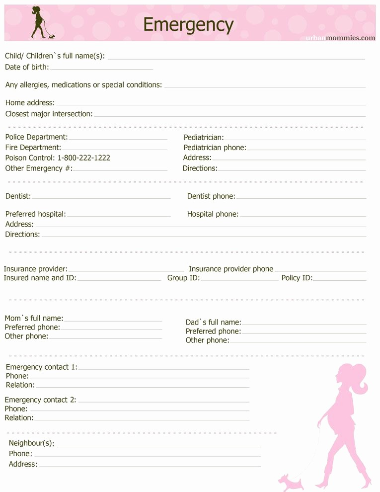 Emergency Contact List for Babysitter Awesome Emergency22