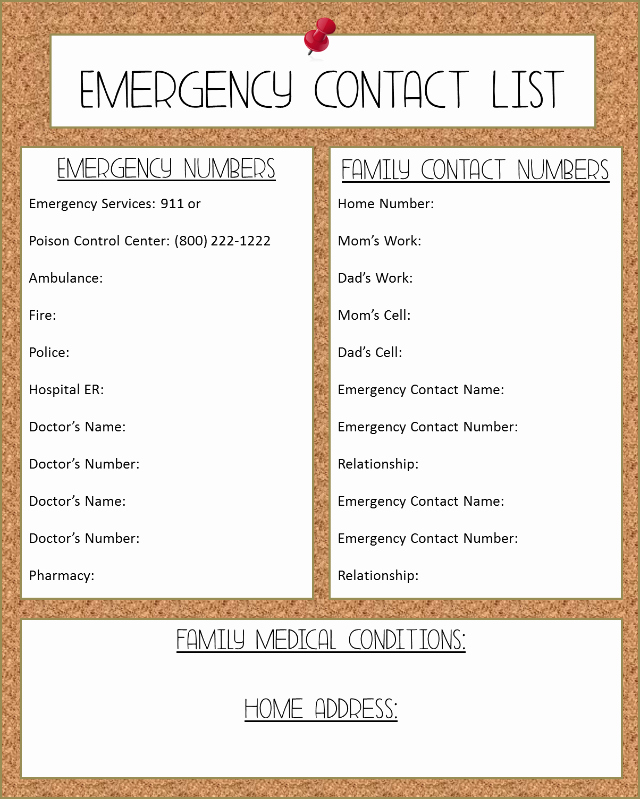 Emergency Contact List for Babysitter Beautiful 6 Best Of Free Printable Emergency Contact List