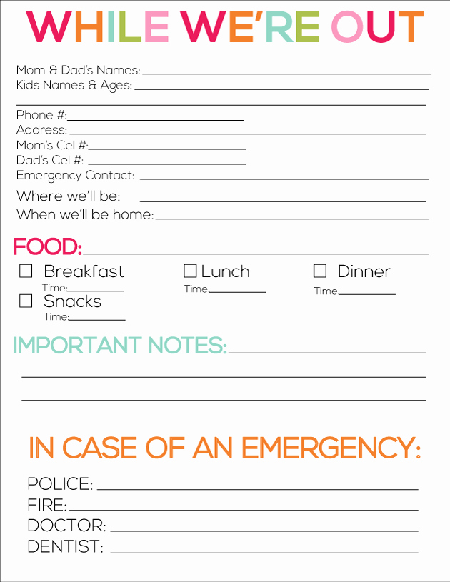 Emergency Contact List for Babysitter Beautiful 8 Best Of Printable Babysitter forms for Parents