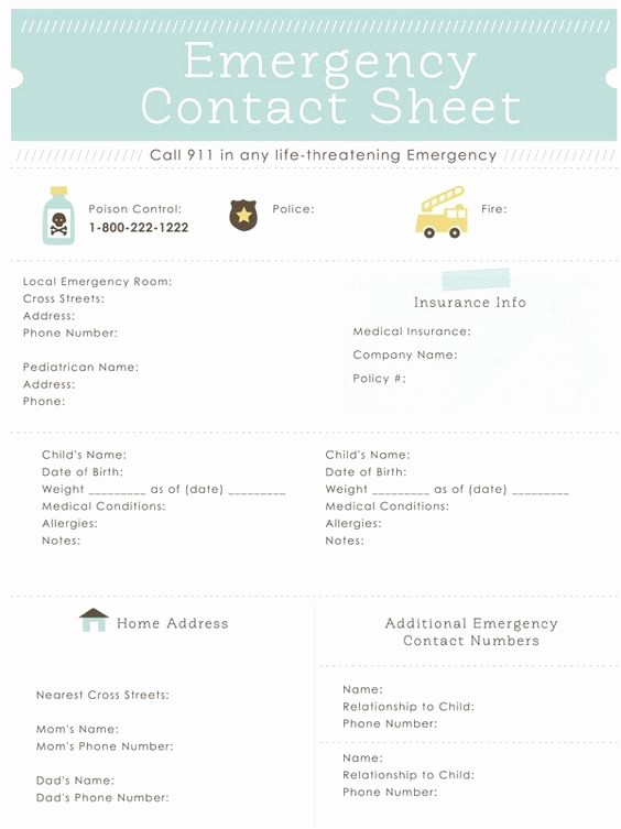 Emergency Contact List for Babysitter Best Of Emergency Contact Sheet Printable Great for the