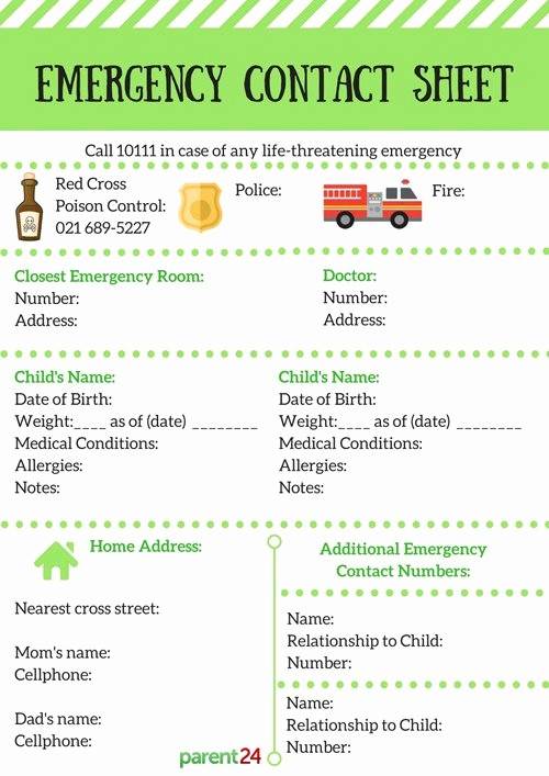 Emergency Contact List for Babysitter Best Of Printable Emergency Contact Information