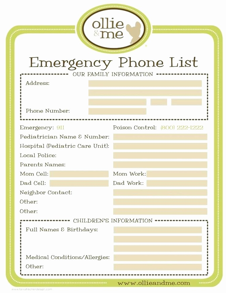 Emergency Contact List for Babysitter Elegant Cute Printable Babysitter Notes 7 Best Babysitting