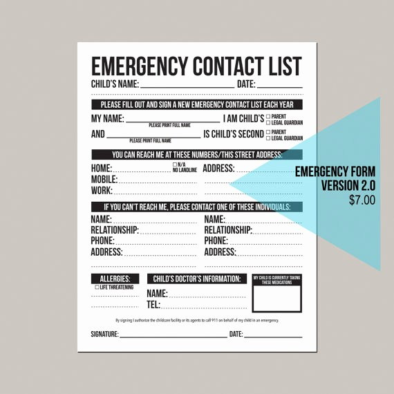 Emergency Contact List for Babysitter Fresh Emergency Contact form Version 2 0