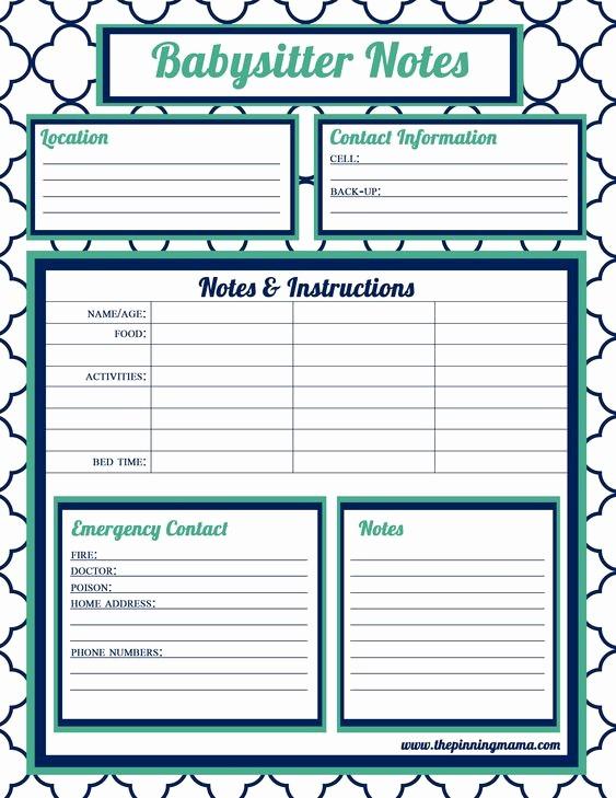 Emergency Contact List for Babysitter Lovely Babysitter Information Babysitter Checklist Babysitter