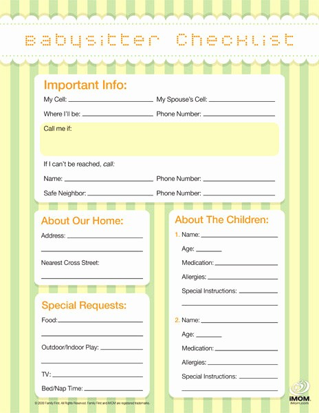 Emergency Contact List for Babysitter Luxury Babysitter Checklist Imom