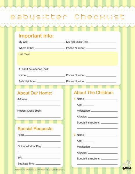 Emergency Contact List for Babysitter Luxury Babysitter Checklist Imom