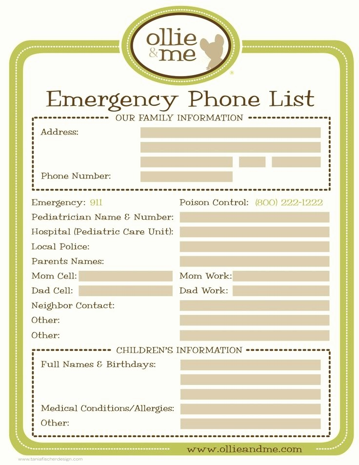 Emergency Contact List for Babysitter New Emergency Phone List for Your Babysitter