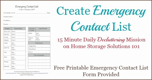 Emergency Contact List for Babysitter Unique Free Printable Emergency Contact List form