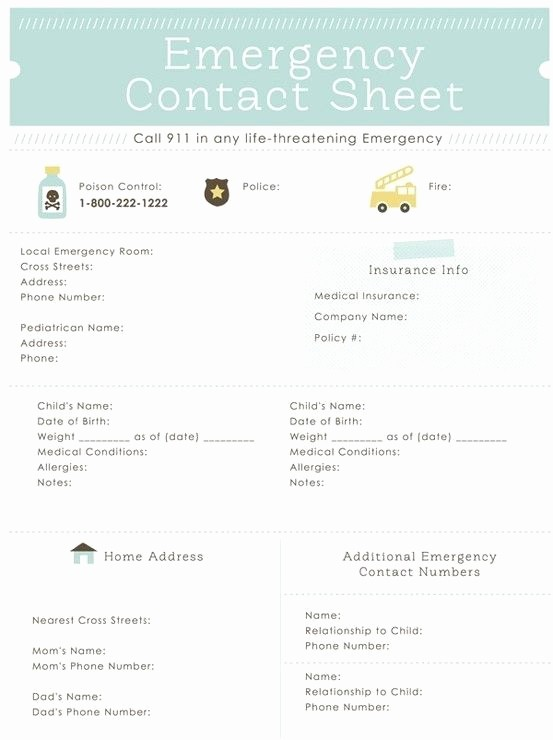 Emergency Contact List for Babysitters Awesome A List Of Important Contacts and Personal Information