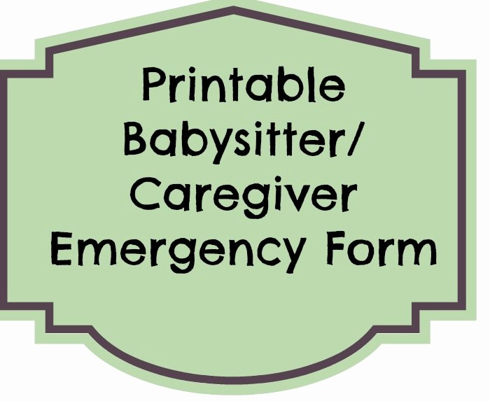 Emergency Contact List for Babysitters Elegant Printable Emergency Contact form for Babysitter Eat
