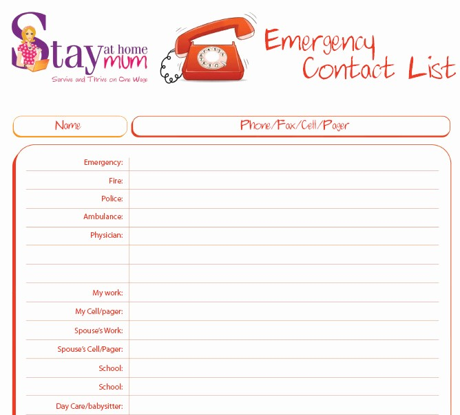 Emergency Contact List for Babysitters Inspirational Emergency Contact List Stay at Home Mum