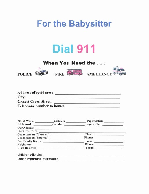 Emergency Contact List for Babysitters Lovely 7 Best Of Red Cross Babysitting forms Printable
