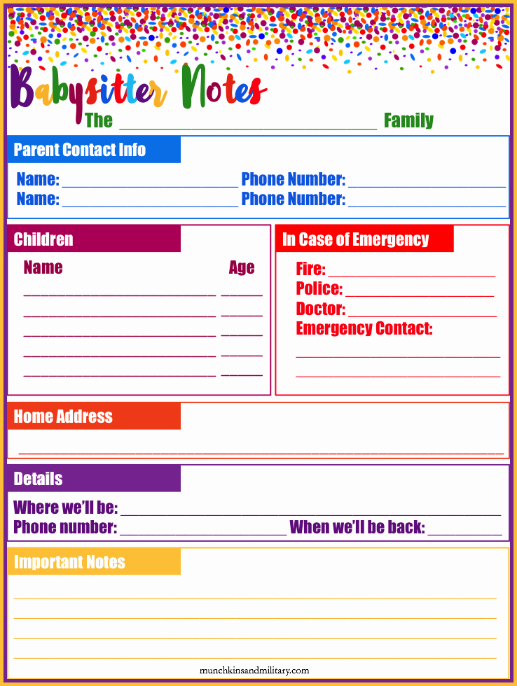 Emergency Contact List for Babysitters Luxury My Babysitter Musts Munchkins and the Military