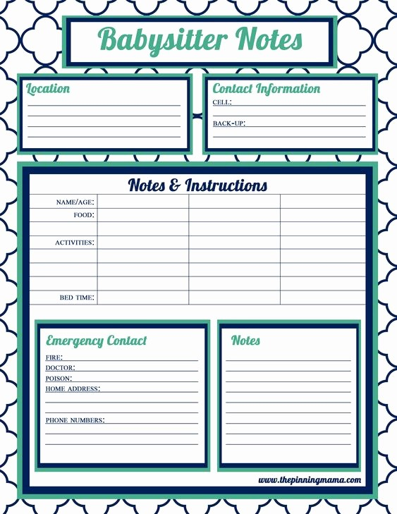 Emergency Contact List for Babysitters Unique Babysitter Information Babysitter Checklist Babysitter