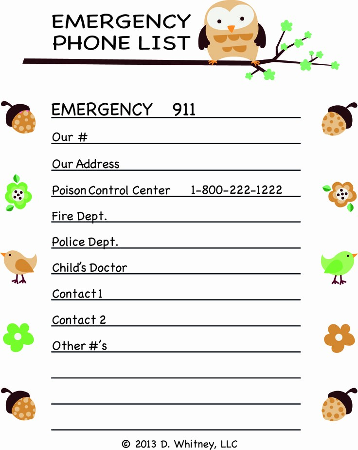 Emergency Contact List for Babysitters Unique Pin Babysitter Emergency Contact List Ajilbab Portal On