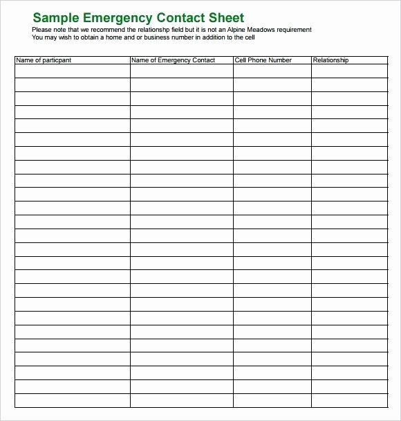 Emergency Contact List for Business Awesome Business Emergency Contact List Template Emergency Contact