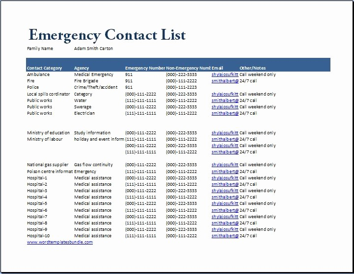 Emergency Contact List for Business Awesome Emergency Numbers List Template