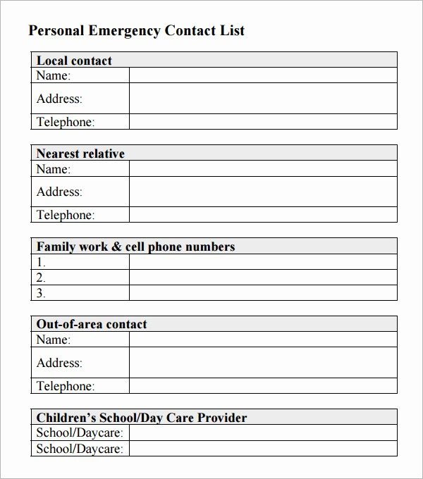 Emergency Contact List for Business Beautiful 13 Contact List Templates – Pdf Word